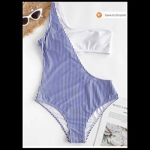 NWOT! Blue and white cut out swimsuit